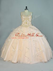 Latest Champagne Ball Gowns Beading and Ruffles Quinceanera Dress Lace Up Tulle Sleeveless Floor Length