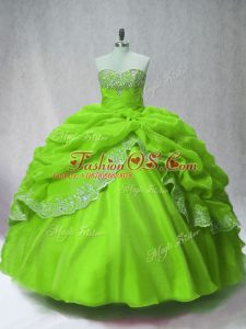 Lovely Organza Long Sleeves Floor Length 15th Birthday Dress and Beading and Appliques and Pick Ups