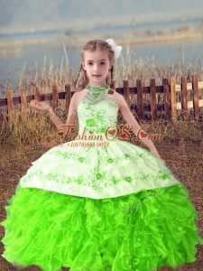 Ball Gowns Little Girls Pageant Gowns Halter Top Organza Sleeveless Floor Length Lace Up