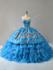 Lovely Sleeveless Embroidery and Ruffles Lace Up Sweet 16 Quinceanera Dress