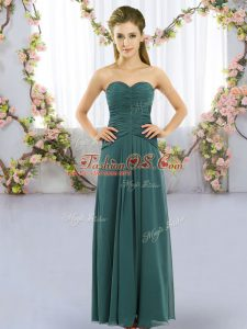 Fantastic Empire Bridesmaids Dress Peacock Green Sweetheart Chiffon Sleeveless Floor Length Lace Up