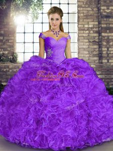 Flare Ball Gowns Ball Gown Prom Dress Lavender Off The Shoulder Organza Sleeveless Floor Length Lace Up