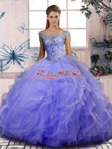 Nice Lavender Sleeveless Tulle Lace Up Vestidos de Quinceanera for Sweet 16 and Quinceanera