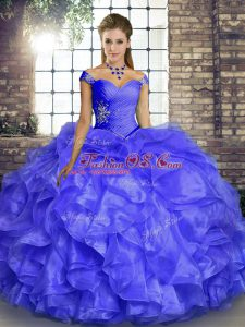 Discount Organza Off The Shoulder Sleeveless Lace Up Beading and Ruffles Quinceanera Dress in Lavender