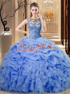 Super Blue Sleeveless Beading and Ruffles Floor Length Quince Ball Gowns