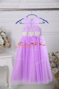 Smart Lavender Sleeveless Tulle Zipper Toddler Flower Girl Dress for Wedding Party