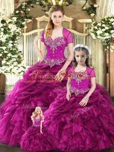 Fuchsia Lace Up Vestidos de Quinceanera Beading and Ruffles and Pick Ups Sleeveless Floor Length