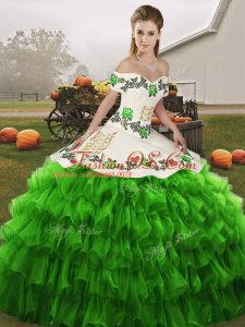 Perfect Green Lace Up 15 Quinceanera Dress Embroidery and Ruffled Layers Sleeveless Floor Length