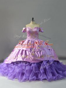 Comfortable Organza Off The Shoulder Sleeveless Chapel Train Lace Up Embroidery and Ruffles Sweet 16 Quinceanera Dress in Lavender