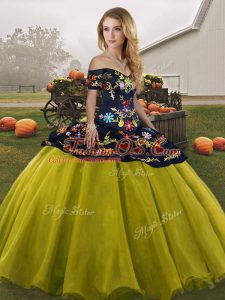 Olive Green Lace Up Quince Ball Gowns Embroidery Sleeveless Floor Length