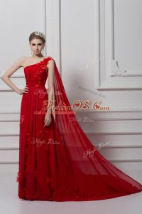 One Shoulder Sleeveless Watteau Train Lace Up Homecoming Dress Red Chiffon and Tulle