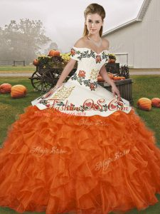 On Sale Orange Red Organza Lace Up Sweet 16 Quinceanera Dress Sleeveless Floor Length Embroidery and Ruffles