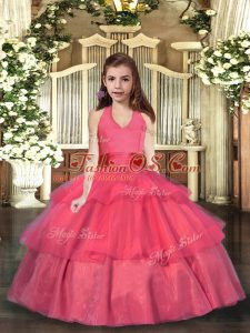 Eye-catching Coral Red Ball Gowns Halter Top Sleeveless Organza Floor Length Lace Up Ruffled Layers Little Girls Pageant Gowns