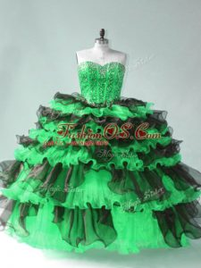 Comfortable Floor Length Green Quince Ball Gowns Organza Sleeveless Beading and Ruffled Layers
