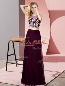 Hot Selling Burgundy Backless Scoop Beading Prom Evening Gown Chiffon Sleeveless