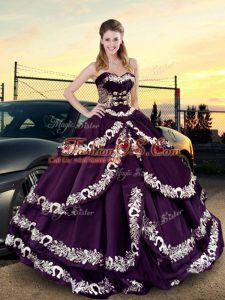 Deluxe Purple Satin and Silk Like Satin Lace Up Sweetheart Sleeveless Floor Length Quince Ball Gowns Embroidery and Ruffled Layers