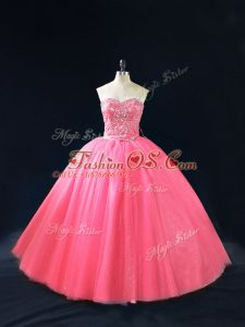 Hot Pink Sleeveless Floor Length Beading Side Zipper 15 Quinceanera Dress