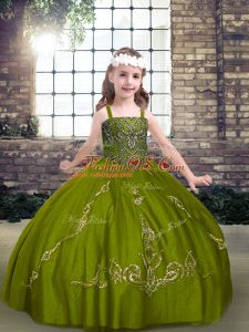 High Quality Olive Green Tulle Lace Up Straps Sleeveless Floor Length Girls Pageant Dresses Beading