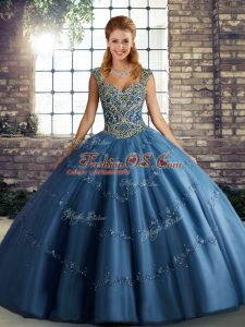 Blue Straps Neckline Beading and Appliques 15 Quinceanera Dress Sleeveless Lace Up