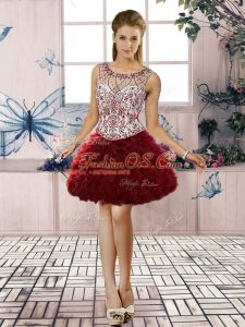 Burgundy Scoop Neckline Beading and Ruffles Prom Dresses Sleeveless Lace Up