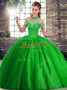 Simple Green Sleeveless Beading Lace Up Quinceanera Dress