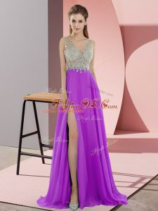 Empire Sleeveless Lavender Mother Of The Bride Dress Sweep Train Zipper