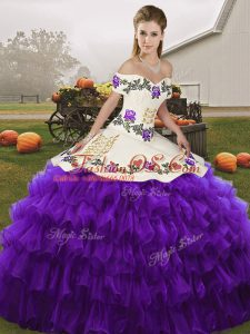 Modest White And Purple Sleeveless Floor Length Embroidery and Ruffled Layers Lace Up Quinceanera Gowns