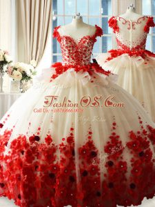 High End Sleeveless Tulle Brush Train Zipper Sweet 16 Dress in White And Red with Hand Made Flower
