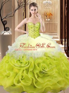 Excellent Sleeveless Lace Up Floor Length Beading and Ruffles Sweet 16 Quinceanera Dress