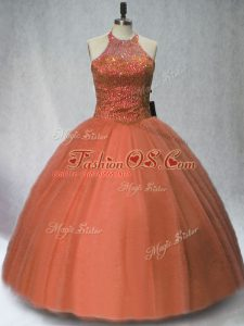 Halter Top Sleeveless Tulle Quinceanera Dresses Beading Lace Up