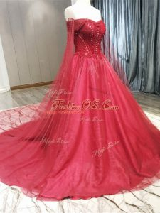 Coral Red Sleeveless Tulle Court Train Zipper Wedding Dresses for Wedding Party