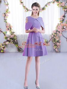 Ruching Quinceanera Court of Honor Dress Lavender Zipper Half Sleeves Mini Length