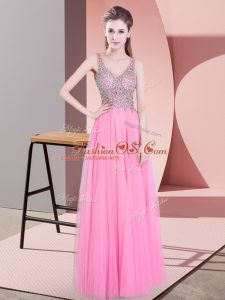 New Style Tulle Sleeveless Floor Length Mother Of The Bride Dress and Beading