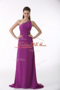 Customized Sleeveless Beading and Ruching Backless Mother Of The Bride Dress with Fuchsia Brush Train