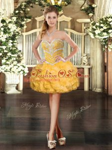 Ball Gowns Dress Like A Star Gold Sweetheart Organza Sleeveless Mini Length Lace Up
