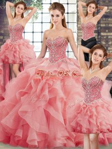 Beautiful Watermelon Red Sweetheart Neckline Beading and Ruffles Sweet 16 Quinceanera Dress Sleeveless Lace Up
