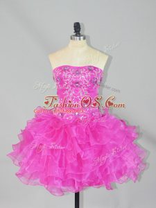 Ideal Ball Gowns Club Wear Fuchsia Strapless Organza Sleeveless Mini Length Lace Up