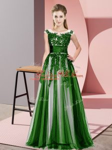 Captivating Floor Length Zipper Bridesmaid Dresses Green for Wedding Party with Beading and Lace