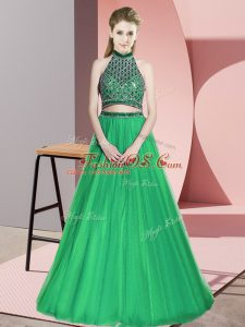 Latest Green Sleeveless Tulle Lace Up Party Dress for Toddlers for Prom and Party