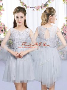 Grey Sleeveless Lace and Belt Mini Length Quinceanera Dama Dress
