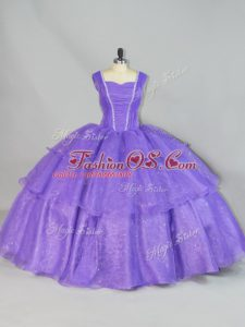 Stunning Lavender Sleeveless Organza Lace Up Vestidos de Quinceanera for Sweet 16 and Quinceanera