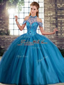 Halter Top Sleeveless Brush Train Lace Up Quinceanera Gown Blue Tulle