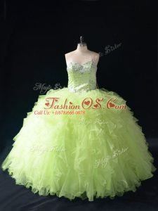 Super Yellow Green Tulle Lace Up Sweetheart Sleeveless Floor Length Sweet 16 Quinceanera Dress Beading and Ruffles