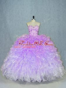 Multi-color Ball Gowns Sweetheart Sleeveless Organza Floor Length Lace Up Beading and Ruffles Ball Gown Prom Dress