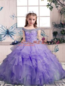Hot Selling Lavender Sleeveless Beading and Ruffles Floor Length Pageant Gowns