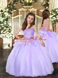 Lavender Little Girls Pageant Dress Wholesale Party and Wedding Party with Beading Straps Sleeveless Lace Up