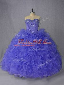 Designer Beading Quinceanera Gowns Lavender and Purple Lace Up Sleeveless Brush Train