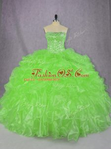 Charming Lace Up Strapless Beading and Ruffles Sweet 16 Dresses Organza Sleeveless