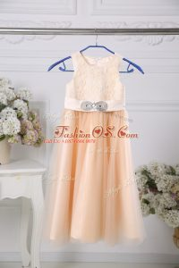 Custom Designed Peach Flower Girl Dresses Wedding Party with Lace and Belt Scoop Sleeveless Zipper