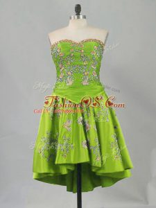 Shining Olive Green Sweetheart Neckline Embroidery Prom Dresses Sleeveless Lace Up